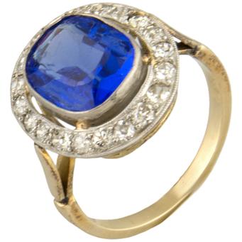 Sortija Años 20 de Oro, Platino, Piedra Azul y Brillantes