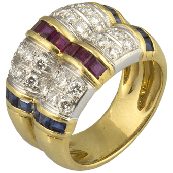 Anillo Suárez Vintage de Oro, Rubís, Zafiros y Diamantes