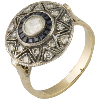 Sortija Art Decó de Oro, Plata, Zafiros y Diamantes
