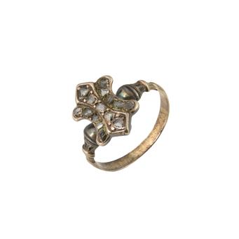 Anillo Finales Siglo XIX de Oro, Diamantes y Esmaltes