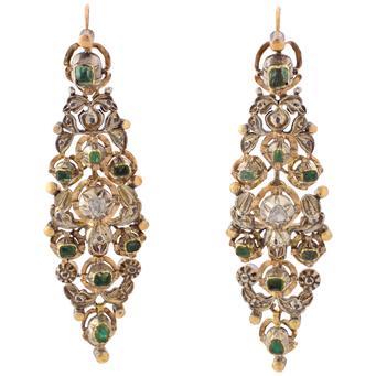 Arracadas Siglo XIX de Oro, Plata, Diamantes y Esmeraldas
