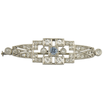 Broche Art Decó de Platino, Diamantes y Piedra de Color
