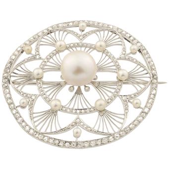 Broche Belle Époque de Platino, Perlas y Diamantes