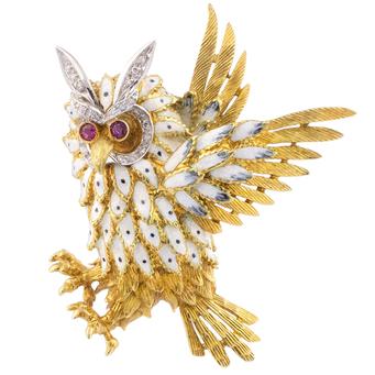 Broche Años 70 de Oro, Diamantes, Rubíes y Esmalte