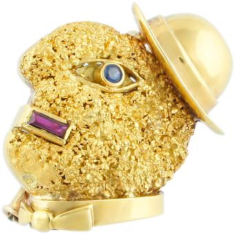 Broche de Oro, Rubí y Zafiro