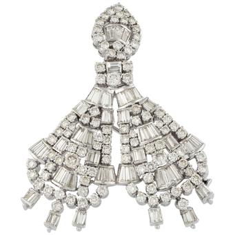 Broche Colgante de Oro Blanco y Diamantes