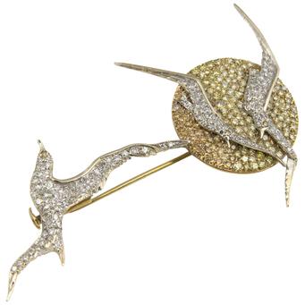 Broche de Oro Amarillo, Rojo, Blanco y Diamantes