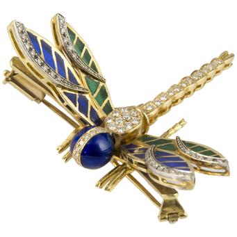 Broche Libélula de Oro, Brillantes y Esmalte