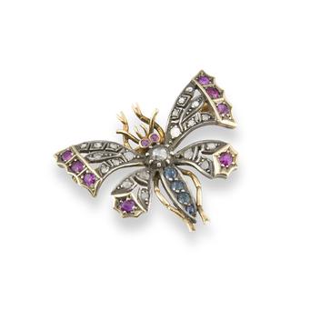 Broche Siglo XIX de Oro, Plata, Diamantes, Zafiros y Rubís