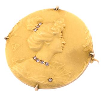 Broche Art Nouveau Siglo XIX de Oro Amarillo y Diamantes