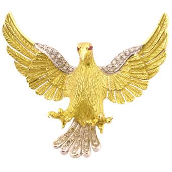Broche de Oro, Oro Blanco, Rubíes y Diamantes