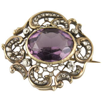 Broche Finales Siglo XIX de Oro, Amatista y Diamantes