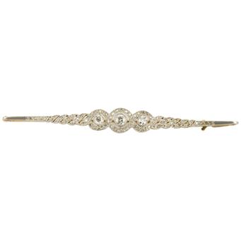 Alfiler Art Decó de Oro Blanco, Platino y Diamantes