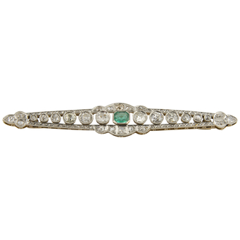 Broche Art Decó de Oro, Platino, Esmeralda y Diamantes