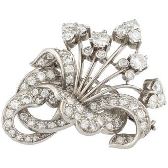 Broche Vintage de Platino y Diamantes