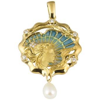 Colgante Modernista de Oro, Esmalte, Brillantes y Perla