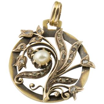 Colgante Modernista de Oro, Diamantes y Perla
