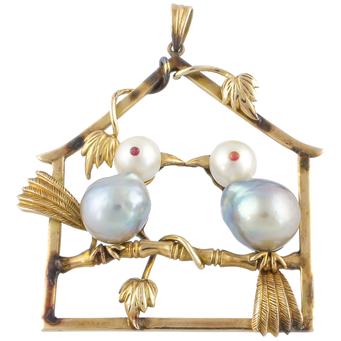 Colgante Vintage de Oro y Perlas
