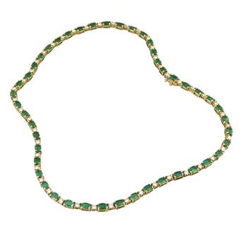 Collar Rivière de Oro, Brillantes y Esmeraldas