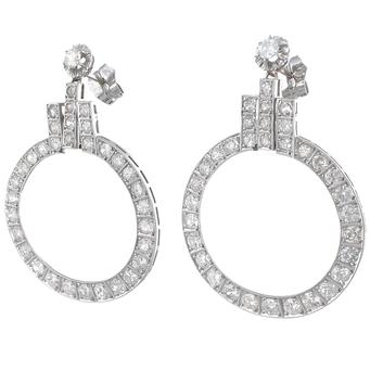 Pendientes Art Decó de Platino y Diamantes