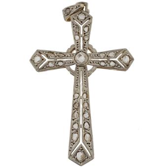 Cruz Art Decó de Oro Blanco y Diamantes