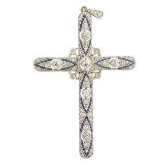 Cruz Art Decó de Oro, Platino, Diamantes y Zafiros