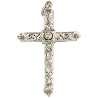 Cruz Art Decó de Platino y Diamantes