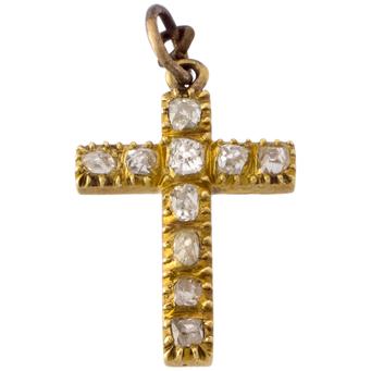 Cruz Siglo XIX de Oro y Diamantes