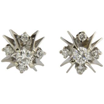 Pendientes Dormilonas de Oro Blanco y Diamantes