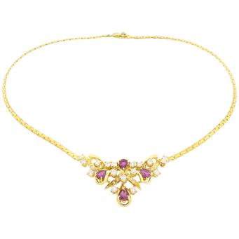 Gargantilla de Oro, Diamantes y Rubíes