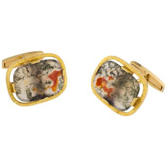 Gemelos Vintage de Oro y Ágatas Musgosas