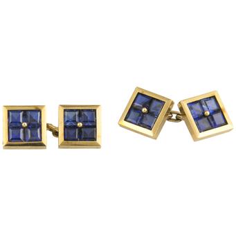 Gemelos Art Decó de Oro y Piedras de Color