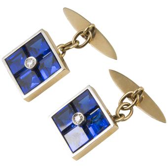 Gemelos Años 20 de Oro, Diamantes y Piedras Azules