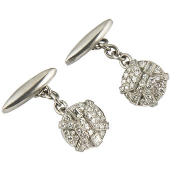 Gemelos Art Decó de Platino y Diamantes