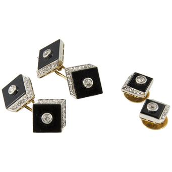 Gemelos y Botonadura Art Decó de Oro, Platino, Ónix y Diamantes