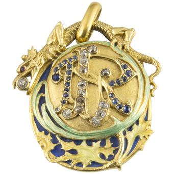 Colgante Modernista Jugendstil de Oro, Esmalte, Diamantes, Zafiros y Rubíes