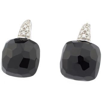 Pendientes de Oro Blanco, Ónix y Diamantes