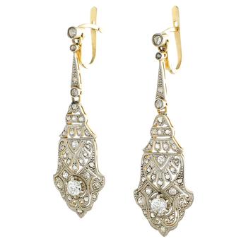 Pendientes Art Decó de Platino, Oro y Diamantes