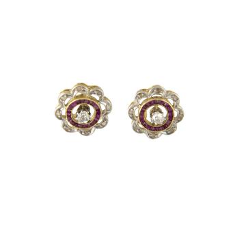 Pendientes Art Decó de Oro, Platino, Diamantes y Piedras de Color