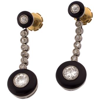 Pendientes Art Decó de Platino, Ónix, Oro y Diamantes