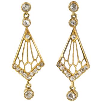 Pendientes Belle Époque de Oro y Diamantes