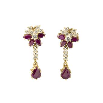 Pendientes Vintage Años 70 de Oro, Diamantes y Rubíes