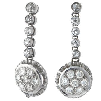 Pendientes Años 30 de Oro Blanco y Diamantes