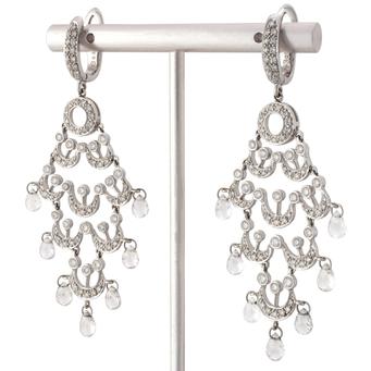 Pendientes Chandelier de Oro Blanco y Diamantes