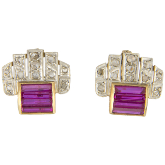 Pendientes Chevalier de Oro, Diamantes y Piedras de Color