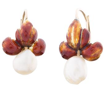 Pendientes de Oro, Esmalte y Perlas
