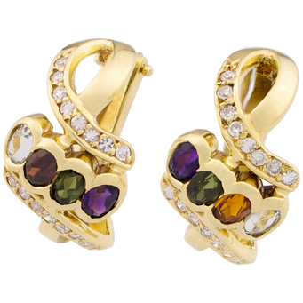 Pendientes de Oro, Diamantes y Gemas Multicolor