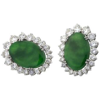 Pendientes de Jade, Oro Blanco y Brillantes