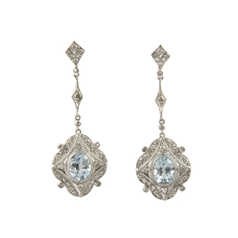 Pendientes Belle Époque de Oro Blanco, Platino, Espinelas y Diamantes