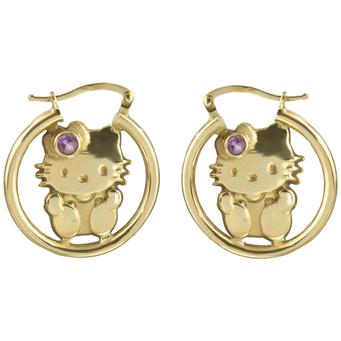 Pendientes Hello Kitty de Oro y Piedra de Color